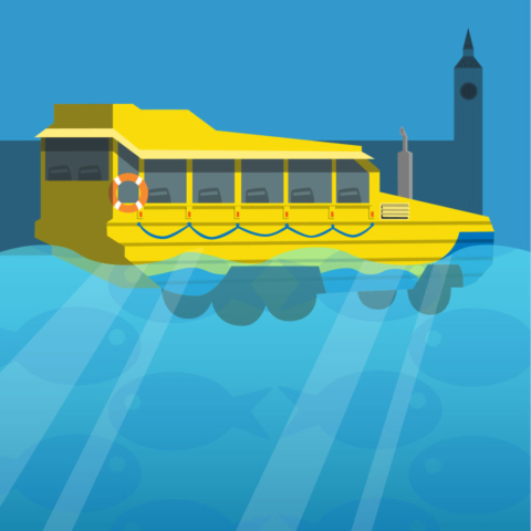 Amphibious London Duck Tour Bus