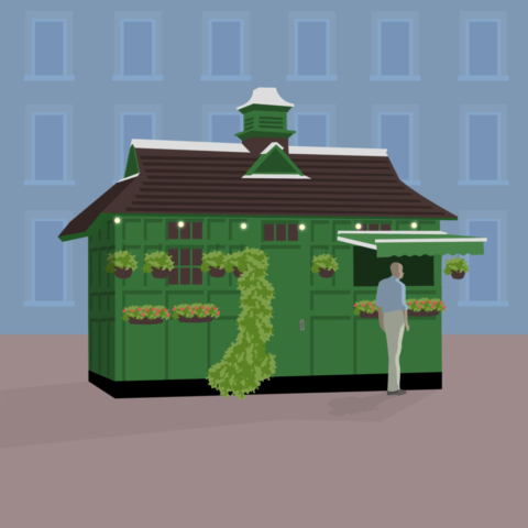 Hackney Carriage Cafe Hut illustrated by Claire Huntley