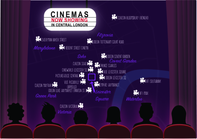 Map of Cinemas in central London