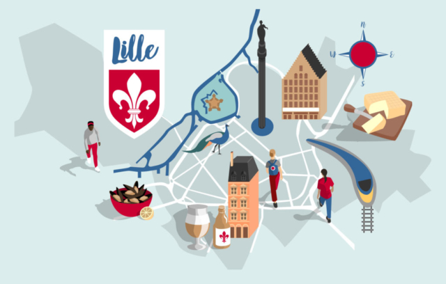 Map of Lille, Northern France