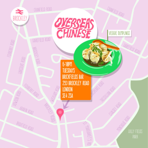 Map of Overseas Chinese Popup at Brickfields bar in Brockley SE4