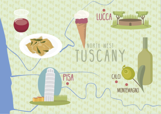Map of Lucca and Pisa in Tuscany, Italy