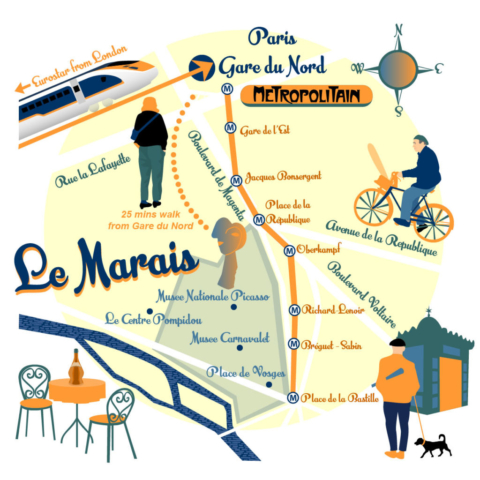 Map of Le Marais, Paris