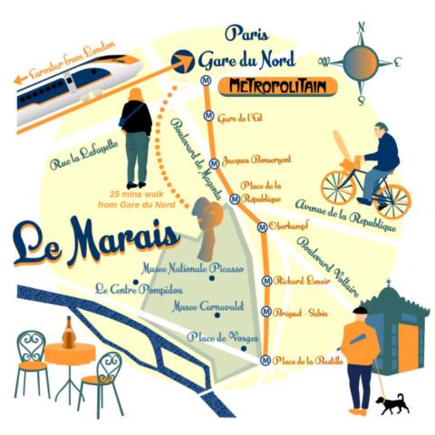 Map of Le Marais, Paris