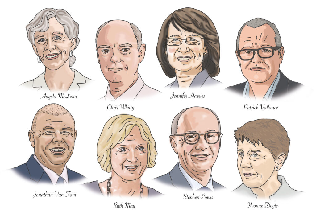 Chief Scientific Advisers to the government illustrated by Claire Huntley
