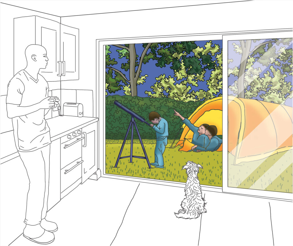 Camping holiday in the garden illustrated by Claire Huntley