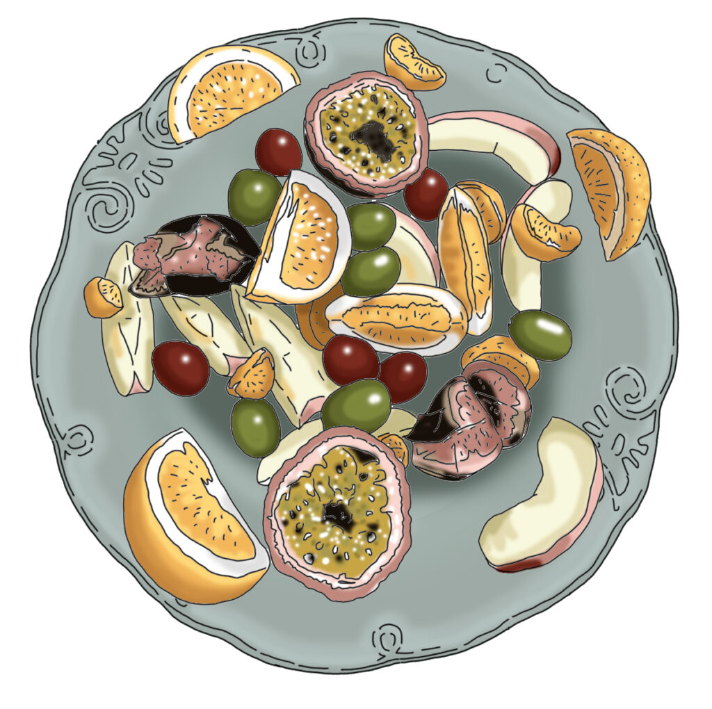 Fruit Salad from from ''A Welsh Mamas Kitchen' blog illustrated by Claire Huntley