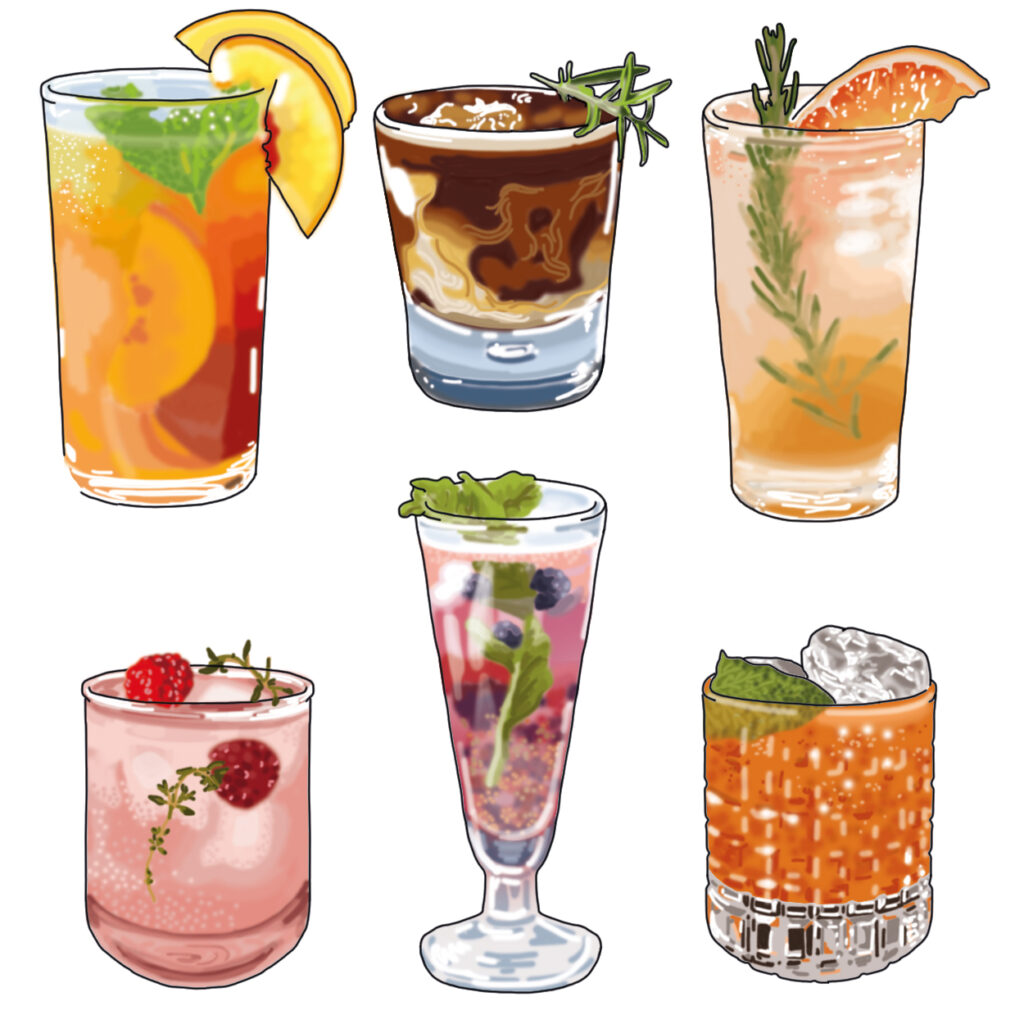 Mocktails illustrated by Claire Huntley
