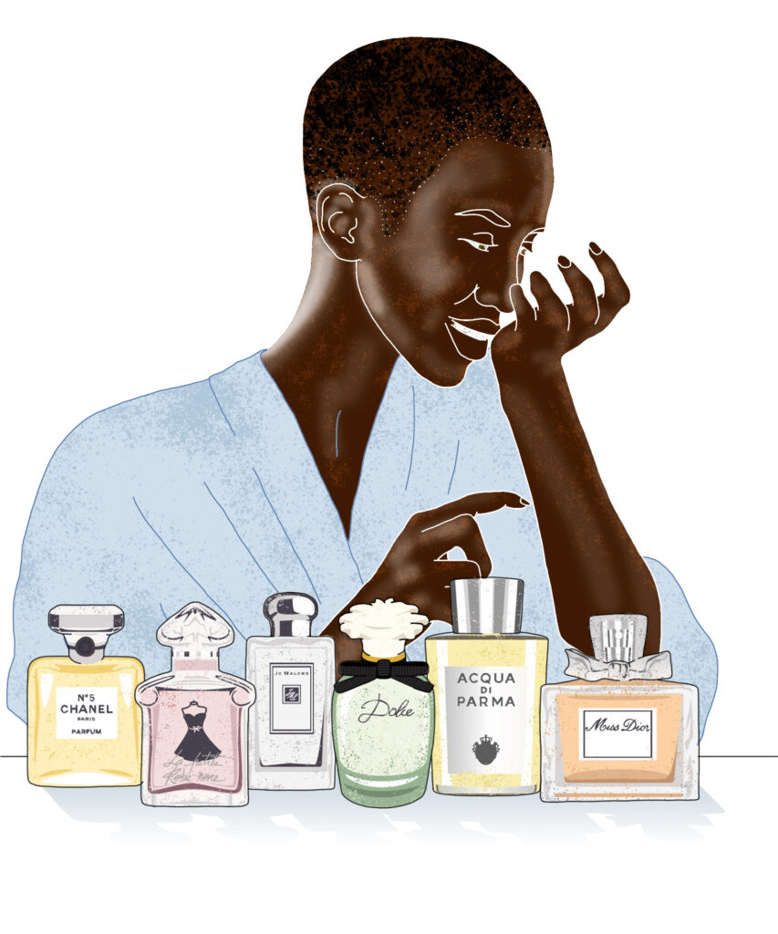 Choosing your perfume Illustrated by Claire Huntley