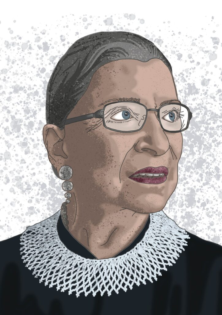 Ruth Bader Ginsburg, Associate Justice of the Supreme Court of the USA from 1993 until her death in September 2020