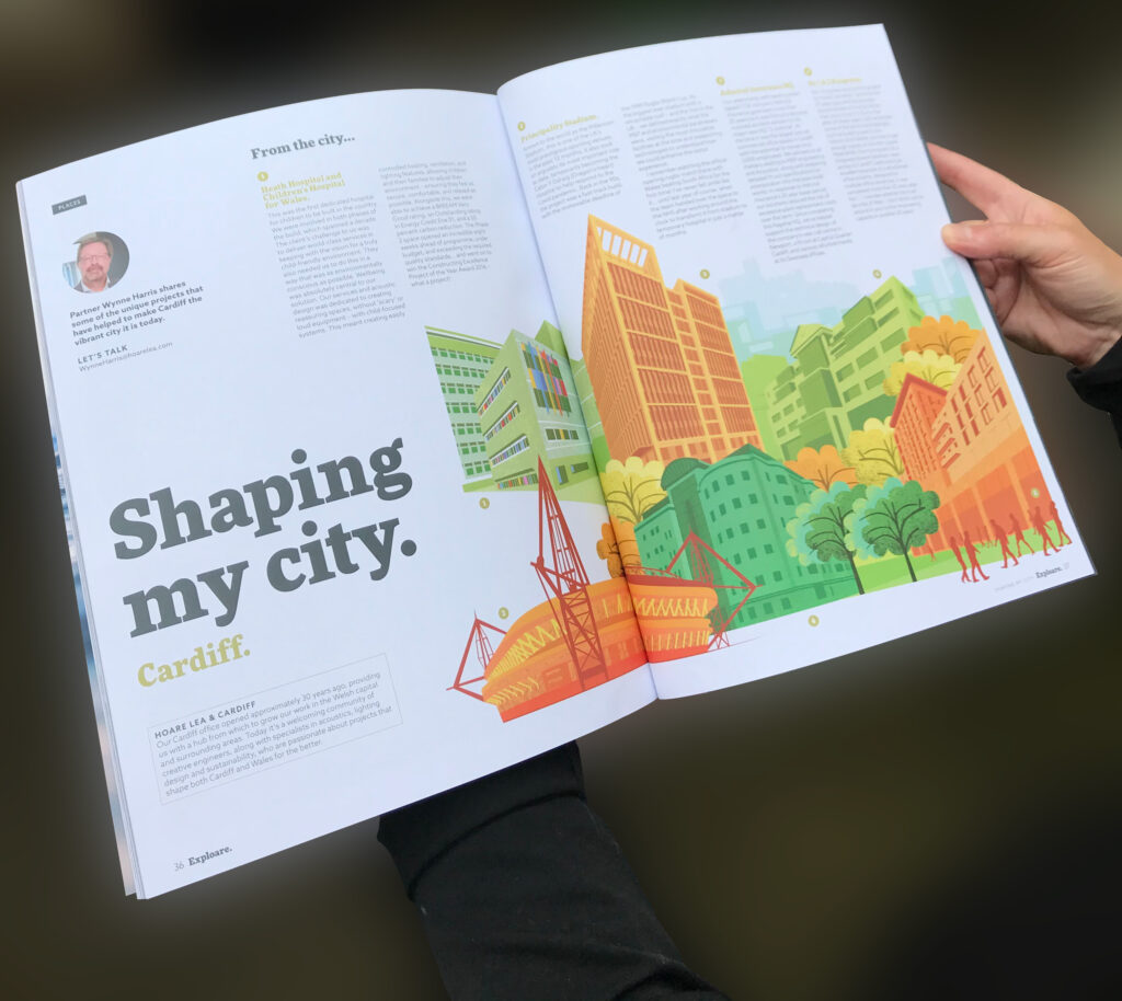 Illustrations of Cardiff architecture by Claire Huntley for Exploare magazine by Hoare Lea