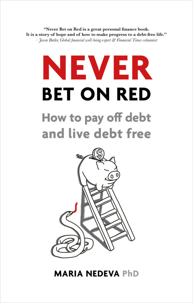Book cover illustration for 'Never Bet on Red' by Maria Nedeva