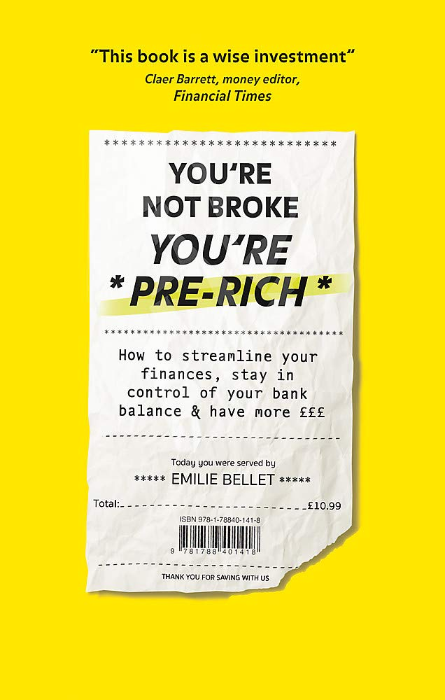 Book cover artwork for 'You're Not Broke You're Pre-Rich' by Emilie Bellet