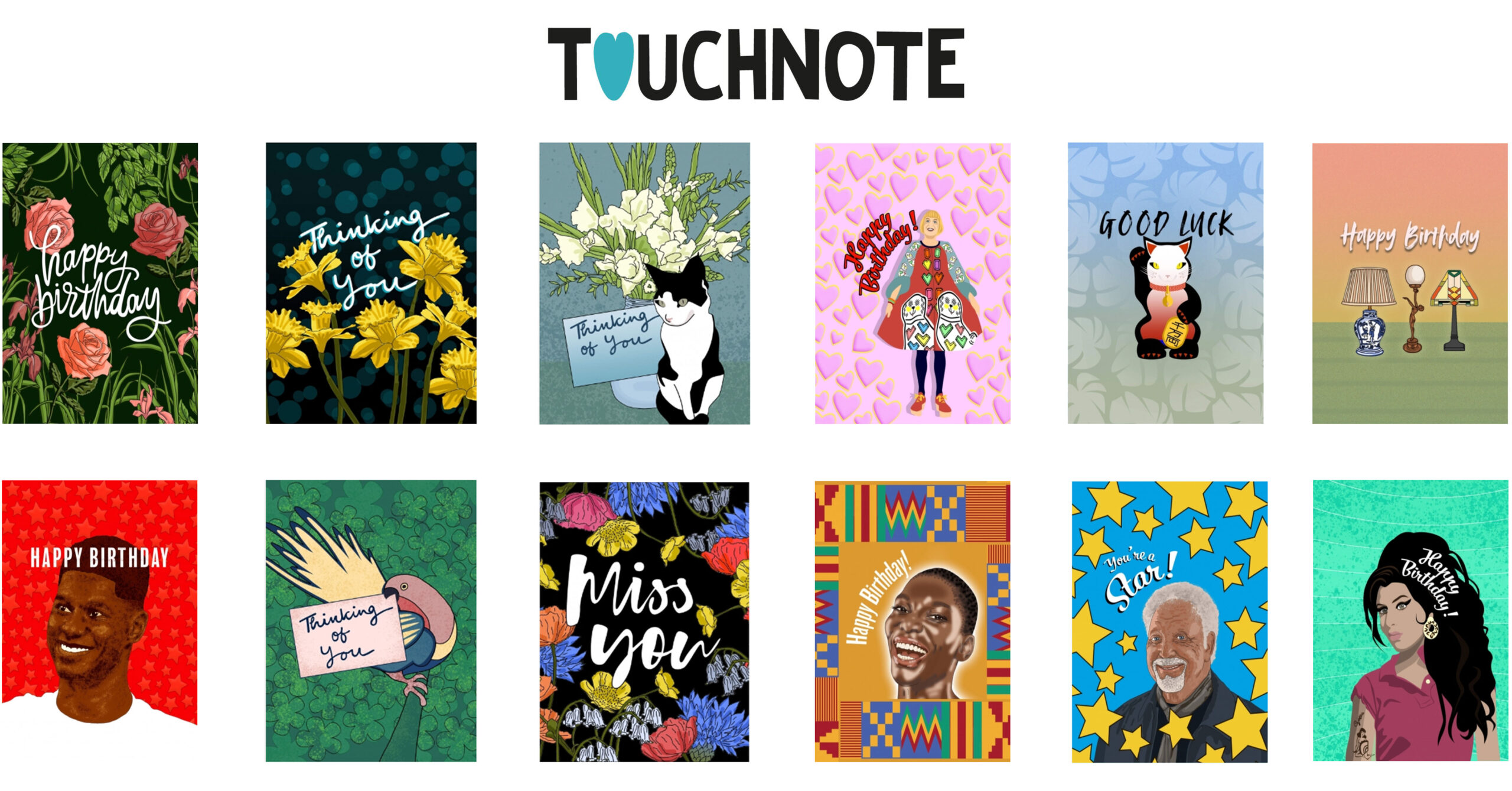 A selection of card designs for TouchNote (app)